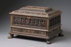 Finch & Co - Indian Sandalwood Rectangular Casket Medium Sandalwood  Provenance: Ex Swiss Private collection  cf: a very similar casket in the V&A Museum (V&A: IS 146 – 1999) which is engraved 'This was worked by Sagara Gudigar Sivappa'  Literature A 'gudigar' was a hereditary artisan in the state of Mysore or Canara and they are believed to have originally come from Goa, migrating south in the early 16th century to avoid conversion to Christianity by the Portuguese.