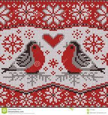 Christmas card with bullfinches, nordic knitted pattern. Decorative seamless border with beautiful winter birds. Fair Isle Knitting Patterns, Christmas Knitting Patterns, Knitting Charts, Knit Patterns, Cross Stitch Bird, Cross Stitch Designs, Cross Stitching, Cross Stitch Patterns, Motif Fair Isle