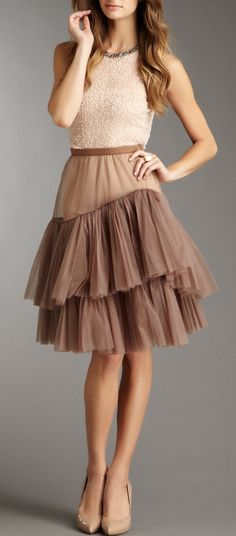 Tulle skirt / BCBGMAXAZRIA like the taupe color of this skirt and the ruffles