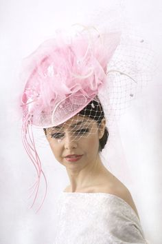 Soft pink Veiled Royal Ascot Hat Kentucky by IrinaSardarevaHats
