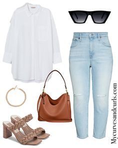 Elevate your everyday casual white shirt and boyfriend jeans look with these beautiful braided sandals and brown/camel handbag.