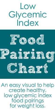 Low Glycemic Index Food Pairing Chart....  easy!