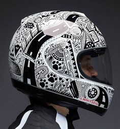 """Custom hand drawn """"Sharpie"""" Arai helmet by Jody Whitsell. She also marked up her entire Ducati Monster S2R in her personal black and white theme."""