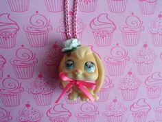 Littlest Pet Shop Flop Eared Bunny Necklace Pendant Jewelry Cute Girl Teen Pink Blue Rabbit Ooak Gift Easter Doll Animal