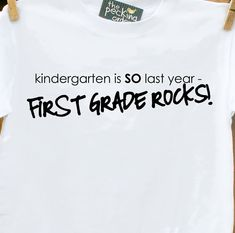 """Christmas gift for McC and teacher.  """"First Grade is so last year-2nd grade rocks!  Too cute.  Etsy."""