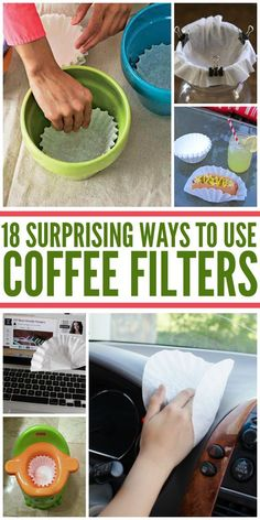 18 Surprising Coffee Filter Uses Coffee filters are great for so many household uses! Check out these surprising coffee filter uses when cleaning, gardening, crafting and more. Coffee Filter Uses, Coffee Filter Crafts, Coffee Filters, House Cleaning Tips, Diy Cleaning Products, Cleaning Solutions, Cleaning Hacks, Hacks Diy, Cleaning Supplies