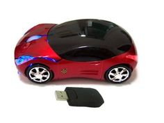 USB KART III Extreme Racing Wireless Optical PC mouse - Sports Car Shape - Red @ £7