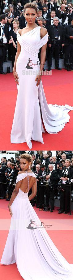 Gorgeous One Shoulder Mermaid White Prom Dresses, Beaded Little Train Prom Dresses, PD0405 #promdresses