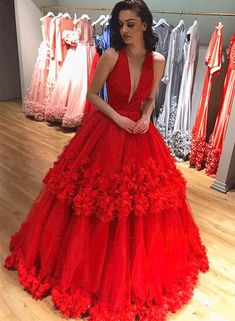Unique red v neck tulle long prom dress, red evening dress.