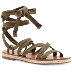 Lucky Brand Women's Dalty Flat Lace-Up Sandals ($89) ❤ liked on Polyvore featuring shoes, sandals, dark green, strappy sandals, platform espadrille sandals, ankle strap sandals, flat sandals and strappy platform sandals