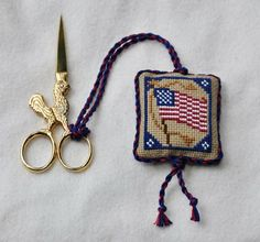 flag pinkeep with rooster scissors..by Cottage Days Journey
