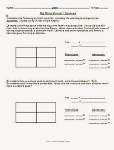 free printable monohybrid cross punnett square worksheet for life science biology biology for. Black Bedroom Furniture Sets. Home Design Ideas