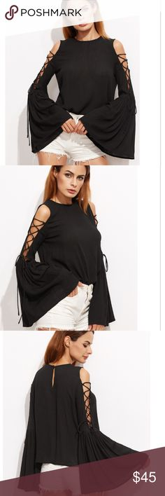 Black Bell sleeved Lace up Open Shoulder Hottest shirt!!! Trendy and exciting.  Crinkled fabric Tops Tees - Long Sleeve