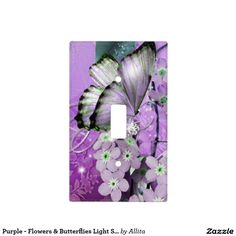 Purple - Flowers & Butterflies Light Switch Cover