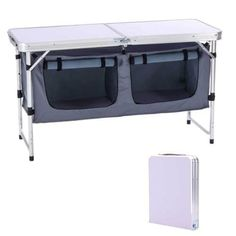 CampLand Outdoor Folding Table Aluminum Lightweight Height Adjustable with Storage Organizer for BBQ, Party, Camping Easy to install and fold up; Overall Folded Detachable, lightweight and durable; Made of MDF table top, aluminum Pipe and oxford cartons Aluminum Folding Table, Outdoor Folding Table, Camping Gifts, Camping Gear, Camping Glamping, Camping Checklist, Camping Outdoors, Campsite, Camping Hacks