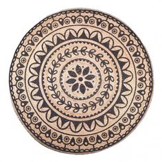 By-Boo vloerkleed 'Jute Round' 220cm, kleur jute/zwart