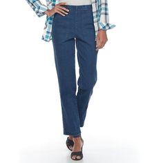 Women's Croft & Barrow® Pull-On Tapered-Leg Jeans, Size: Xxl Short, Dark Blue