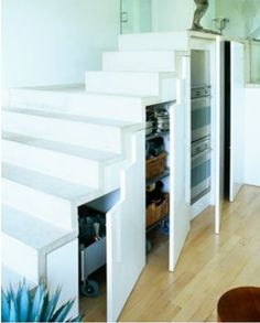 23 Clever Ideas to Stow It Great space savers to creative ideas Basement Storage, Stair Storage, Basement Ideas, Hallway Ideas, Wine Storage, Kitchen Storage, House Stairs, Under Stairs, Home Studio