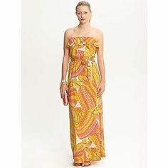 Banana Republic Trina Turk Swirl Pisces Strapless Patio Maxi Dress Size 4 NWOT