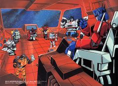 G1 Goodness! Sunstreaker, Prowl, Mirage, Sideswipe, Jazz, and the big Op! Classic! <3