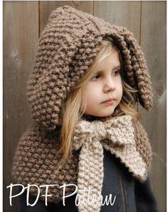 Knitting PATTERN-The Tuft Hooded Scarf months, Toddler, Child, Teen, Adult sizes) - Kapuzenschal Stricken Knitting For Kids, Knitting Projects, Baby Knitting, Crochet Projects, Knitting Patterns, Crochet Patterns, Winter Cloak, Winter Hats, Velvet Acorn