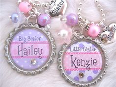 BIG SISTER Little Sister Jewelry, Personalized Children Name Bottle cap Necklace, Personalized Kids name jewelry Hello Kitty Purple Polka dots Pink Polka dots Bottle Cap Jewelry, Bottle Cap Necklace, Bottle Cap Art, Bottle Cap Images, Pink Necklace, Name Necklace, Sister Necklace, Pendant Necklace, Sister Jewelry