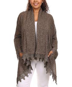 Light Brown Lace-Trim Open Cardigan - Plus