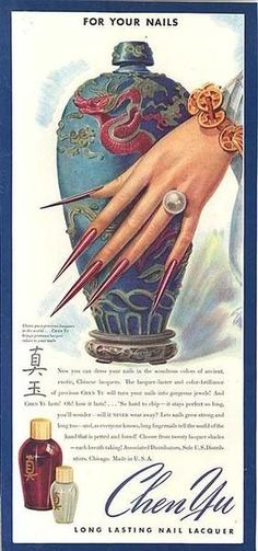 Chen Yu Nail Lacquer Nail Polish Advertising Print Card, c. this vintage ad features evil long fingernails. Retro Poster, Retro Ads, Poster Vintage, Vintage Advertisements, Vintage Bizarre, Creepy Vintage, Looks Vintage, Retro Makeup, Vintage Makeup
