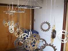 very cool wind chime made from bike parts!