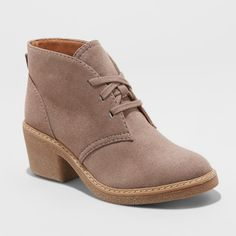 Women's Lucia Microsuede Lace-Up Heeled Wide Width Ankle Booties - Universal Thread Taupe Size: Small, Gray Lace Up Booties, Lace Up Heels, Ankle Booties, Black Booties, Cute Shoes, Me Too Shoes, Wide Width Shoes, Mode Chic, Mid Calf Boots