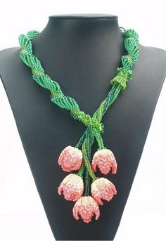 """Symphonie de Tulipes(Symphony of Tulips) - spectacular beadwoven necklace by Belinda Saville. She says: """"My Dutch Spiral Challenge piece is finally complete.."""