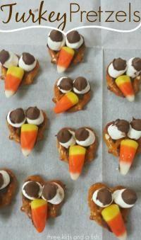 Turkey Pretzel Snacks on MyRecipeMagic.com. Kids love to make these and only 5 ingredients!
