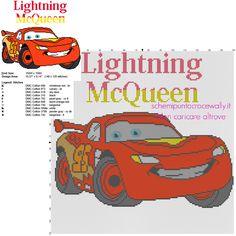 Saetta McQueen personaggio Disney Cars cartoni animati per bambini schema punto croce 150 crocette circa