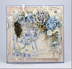 bev-rochester-maja-summertime-blue, Card with flowers Shabby Chic Karten, Shabby Chic Cards, Card Making Inspiration, Making Ideas, Mixed Media Cards, Beautiful Handmade Cards, Friendship Cards, Marianne Design, Mothers Day Cards