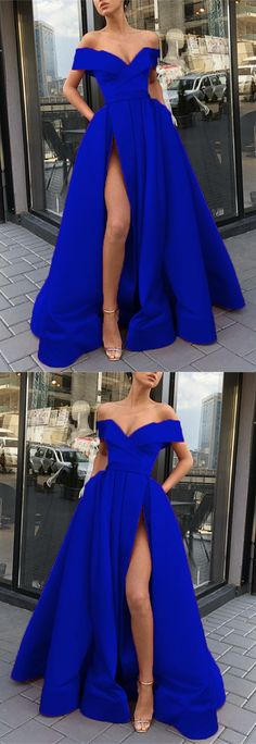 Long Royal Blue Satin Split Evening Dresses Off The Shoulder Prom Gowns With Pockets Royal Blue Homecoming Dresses, Royal Blue Evening Dress, Royal Blue Gown, Royal Blue Bridesmaid Dresses, Blue Evening Dresses, Royal Blue Dresses, Blue Satin, Sandro, Cheap Prom Dresses