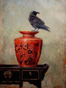 Raven on Red 40x30 2015 LMcNee 600px
