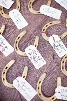 Lucky in love horse shoe favors / http://www.deerpearlflowers.com/rustic-farm-wedding-horseshoe-ideas/