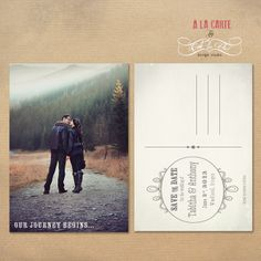 Save the Date Card - Mountain Walk  - Customizable Card - Printable Card.