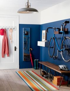 wood bike storage in wall mounted storage Home Interior, Interior Architecture, Garage Interior, Interior Rendering, Apartment Interior, Interior Paint, Home Living, Living Spaces, Modern Living