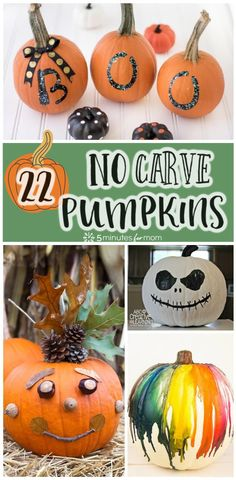 Decorating Pumpkins - Creative No-Carve Halloween Pumpkin Ideas - How to paint or decorate a pumpkin for halloween. #pumpkins #halloween #decoratingpumpkins #creativepumpkins Halloween Food Crafts, Halloween Activities For Kids, Halloween Home Decor, Halloween Projects, Halloween Pumpkins, Halloween Crafts, Holiday Crafts, Halloween Ideas, Halloween Party