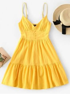Love this bright yellow mini cami sundress for women who love a classic summer cami style dress in a bright yellow. Cute Yellow Dresses, Yellow Dress Summer, Nice Dresses, Summer Dresses Sale, Cute Summer Outfits, Summer Dresses For Women, Lemon Print Dress, Yellow Fashion, Bright Yellow