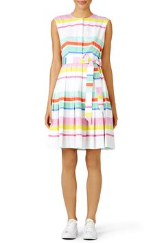 bf57057d6329 A belted waist and pleated skirt make kate spade new york s pastel-striped  dress a