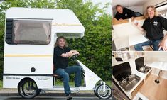 The tiny vehicle, created by Andy Saunders in Poole, Dorset, still has room to squeeze in four seats, a stove, a sink, a table and a bed.