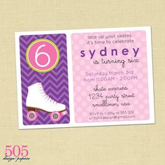 Printable Roller Skating Birthday Party Invitation - Customized Printable Invitation by 505 Design Paperie. $12.50, via Etsy.