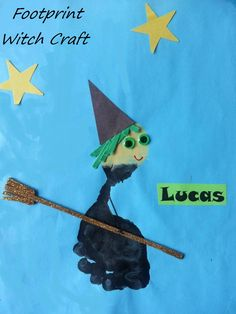 Cute Footprint Witch Craft for Halloween