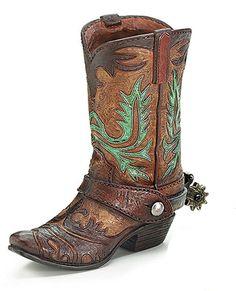 NEW Cowboy Boot Vase Brown w/Spur Green Tooling Western Events Table Centerpiece #BurtonBurton #Western