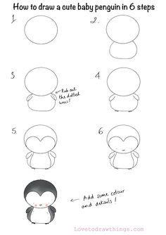 Easy Doodles Drawings, Easy Doodle Art, Easy Drawings For Kids, Simple Doodles, Cute Doodles, Drawing For Kids, Cute Drawings, Penguin Drawing Easy, Cute Easy Animal Drawings