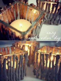 rusticweddingideas:  Fantastic idea for candles! So easy and looks amazing!