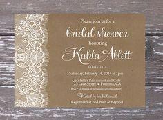 Burlap Lace Bridal Shower Invitation Printable by PartyPrincipessa, $13.00