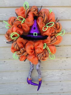 Witch Wreath Halloween Decoration Halloween by OOPSYDAISYDESIGNS
